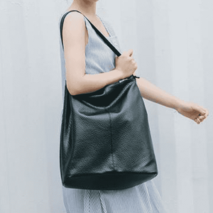 Simple Soft Leather Large Tote Bag in Black