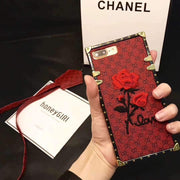 Rose Embroidered Phone Case for All iPhone with Strap