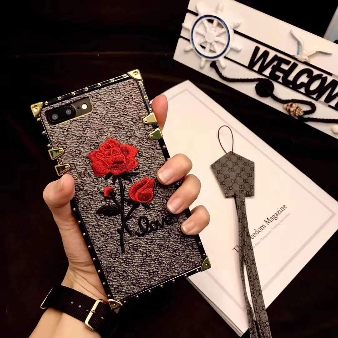 new arrival 5a654 4d004 Rose Embroidered Phone Case for All iPhone with Strap