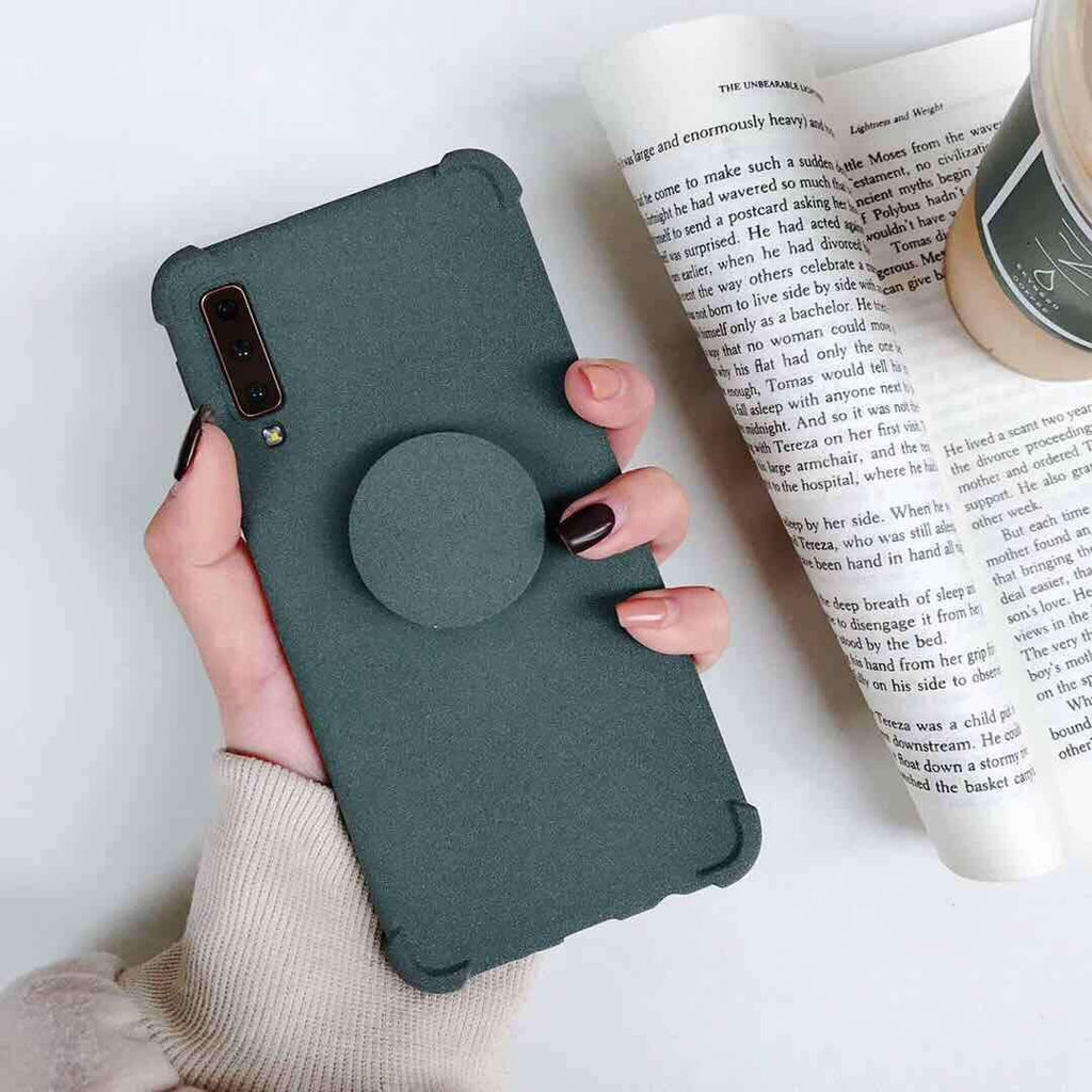 Solid Color Anti-fall iPhone Case with Phone Holder