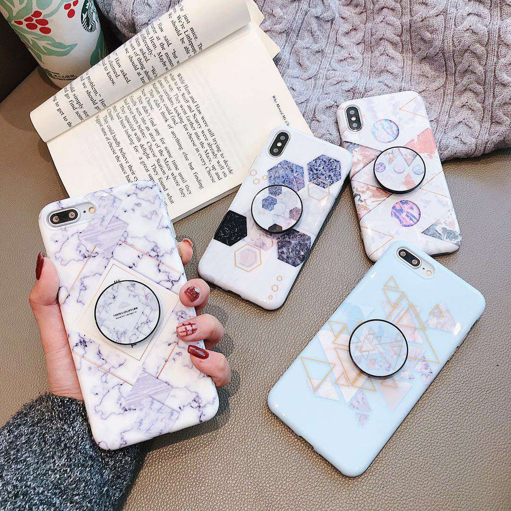 Nordic Style Marble iPhone Case with Phone Holder