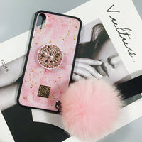 New Arrived Trendy Silicone Gel iPhone Glittering Phone Case With Pink Fur Ball And Holder And String