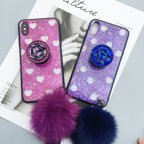 Silicone Gel Purple Polka Pattern Unique Phone Case With Fur Ball And Holder
