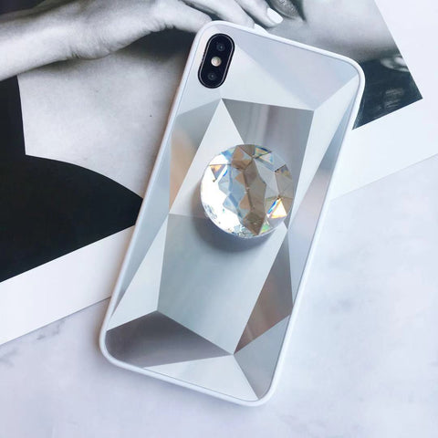 Laser 3D Diamond Mirror Phone Case for Samsung with Phone Holder gallery 4