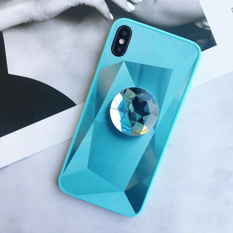 Laser 3D Diamond Mirror Phone Case for Samsung with Phone Holder gallery 3