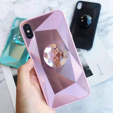 Laser 3D Diamond Mirror Phone Case for Samsung with Phone Holder gallery 2