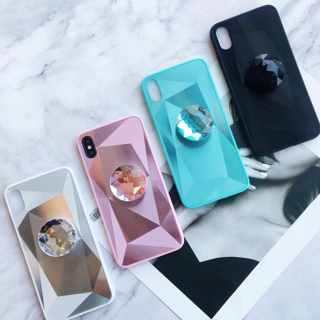 Laser 3D Diamond Mirror Phone Case for Samsung with Phone Holder