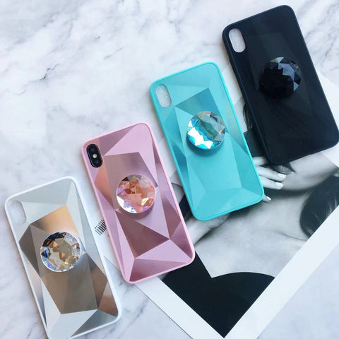 Laser 3D Diamond Mirror Phone Case for Samsung with Phone Holder gallery 1