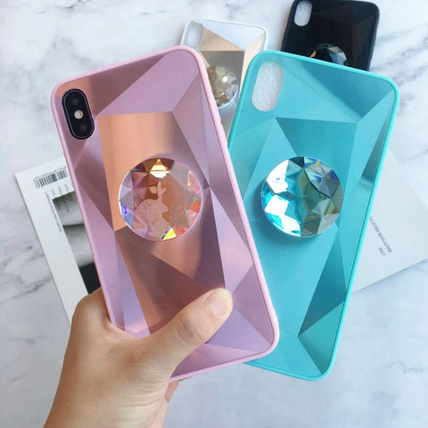 Creative Diamond Pattern iPhone Case with Phone Holder and Protective Film