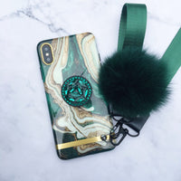 Luxury Marble Pattern iPhone Case with Phone Holder and Pom-pom