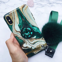Luxury Marble Pattern Silicone Gel iPhone Case with Fur Ball And Phone Holder