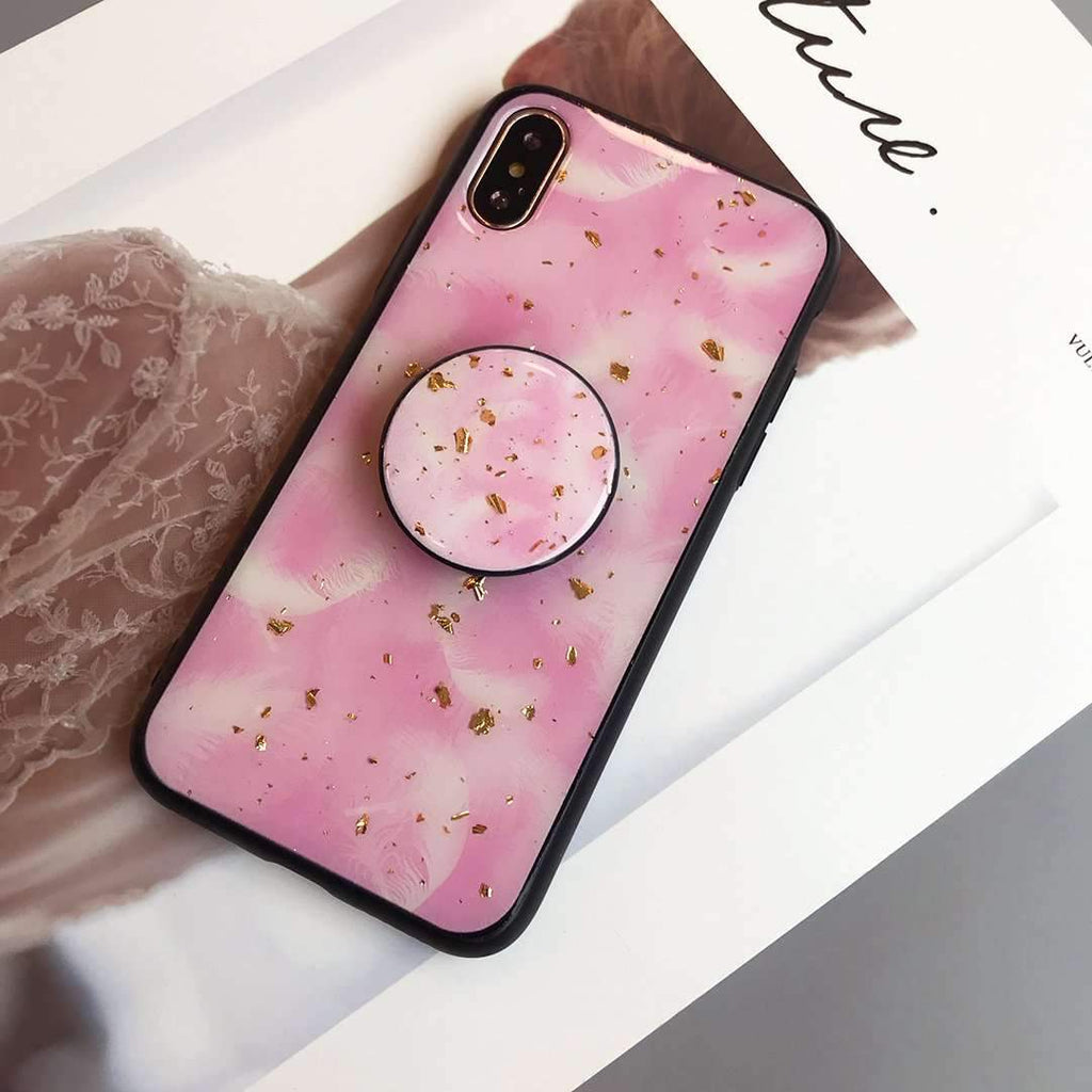 Blinking Pink Gold Foil Soft iPhone Case with Phone Holder