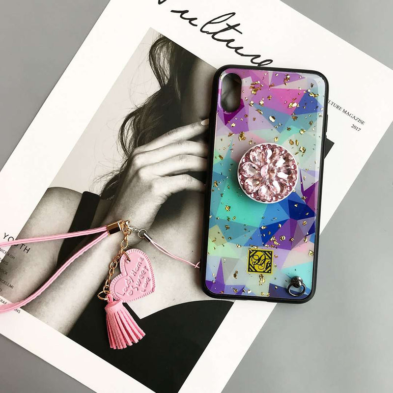 Trendy Silicone Gel iPhone Case with Chain and Phone Holder