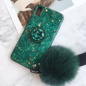 Marble iPhone Case with Phone Holder and Pom-pom