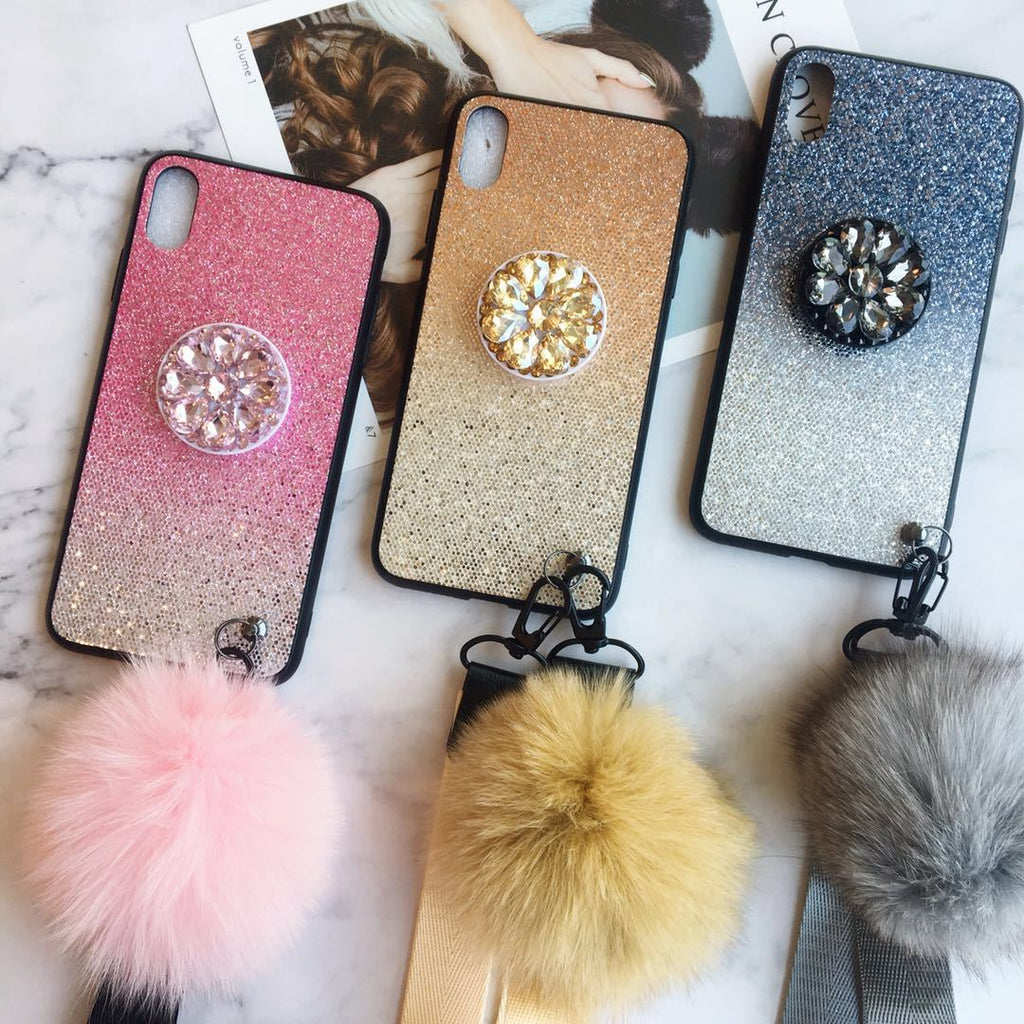 Blinky Phone Case for All iPhone with Holder & Furry Ball