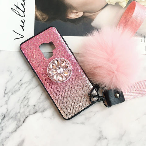 Gradient Shining Phone Case for Samsung with Phone Holder and Pom-pom gallery 4