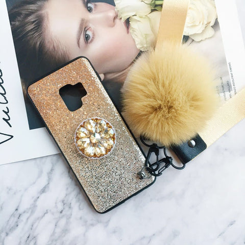 Gradient Shining Phone Case for Samsung with Phone Holder and Pom-pom gallery 5