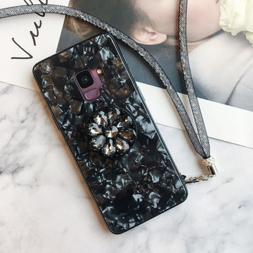 Glittery Pearl-Luster Pattern Phone Case for Samsung with Holder and Carrying Cord