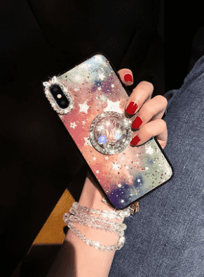 Blinking Diamonds Starry Full Cover Phone Case for Apple iPhone with Rope