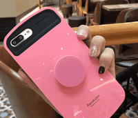 Elegant Pure Color Full Cover Soft Phone Case for Apple iPhone with Phone Holder