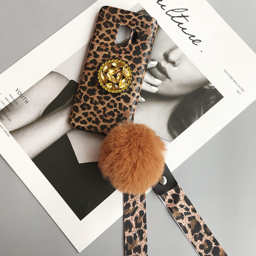 Fashion Leopard Crystal Diamond Phone Case for Samsung with Phone Holder and Pom-pom