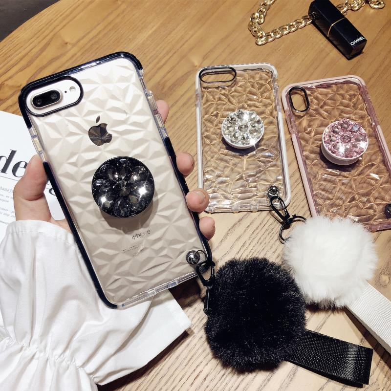 Korean Style Transparent Rhombus Pattern Gloss Silicone Gel Soft iPhone Case with Phone Holder and Pom-pom