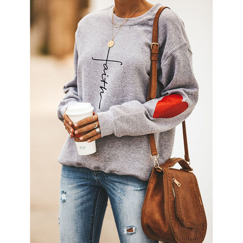 Faith Letter & Heart Graphic Drop Shoulder Sweatshirt