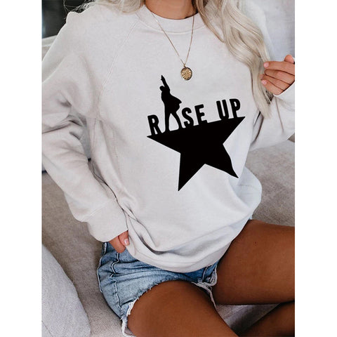 Slogan & Star Graphic Color Block Sweatshirt