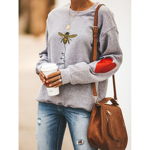 Bee & Heart Graphic Drop Shoulder Sweatshirt