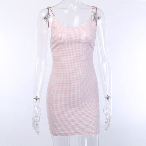 Pearl Twisted Strap Backless Pink Mini Dress gallery 15