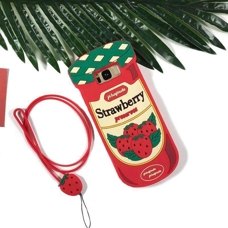 Cute Strawberry Soft Phone Case with Rope For Samsung Mobile Phone