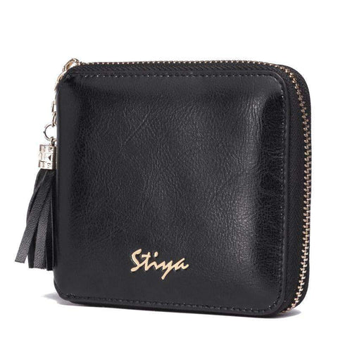 All-Match Cow Leather Minimalism Short Sized Black Card Bag gallery 2