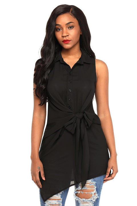 Black Tie Front Sleeveless Long Blouse gallery 1