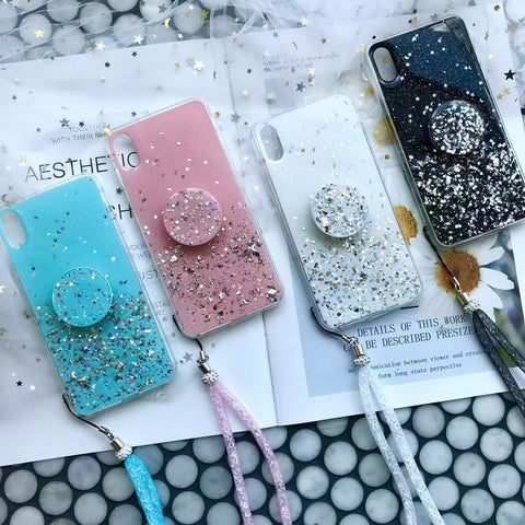 Random Foils Printed iPhone Case with Phone Holder and Hand Strap