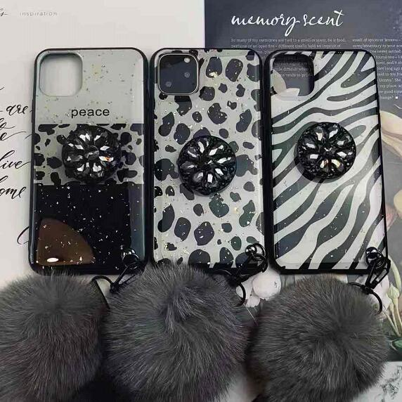 Stitching Color Phone Cases With Rhinestone Ring Stand And Fluffy Pendant For All iPhone