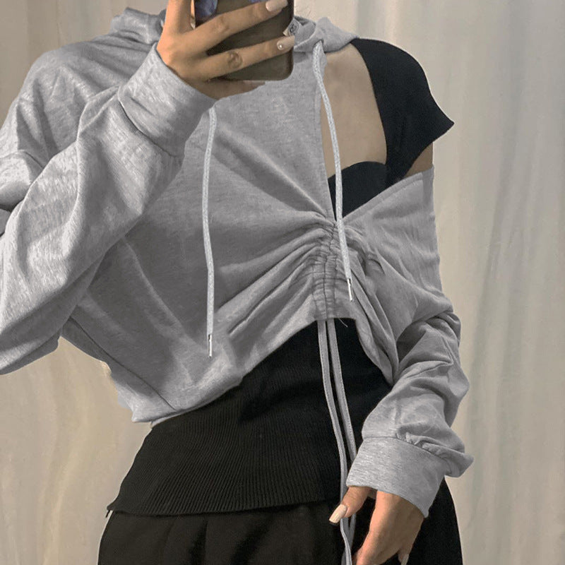 Cut Out Shoulder Drawstring Hem Hoodie