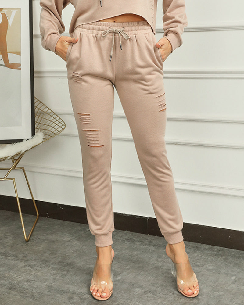 Solid Ripped Drawstring Waist Pants