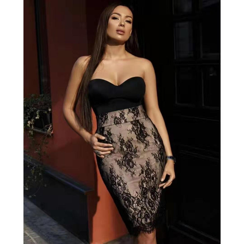 Elegant Lace Embroidered Spliced Bandeau Bodycon Dress