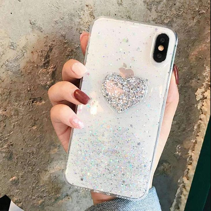 Chic Heart Print Soft iPhone Case