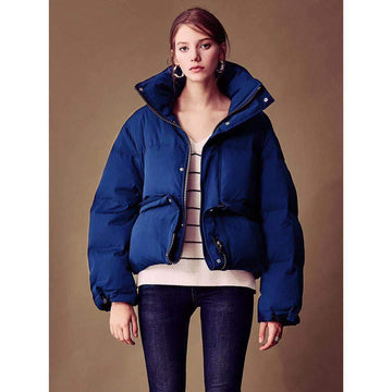 Chic Adjustable Length Oversized Funnel Collar Puffer Jacket