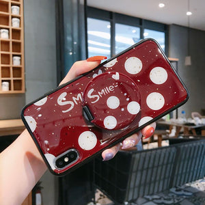 Dot Pattern Phone Case for Samsung with Mirror Phone Holder