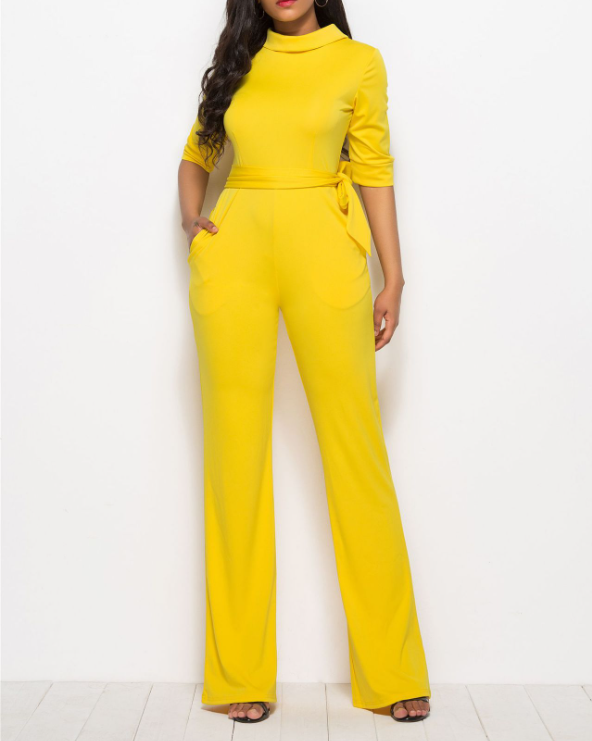Soild Turtleneck Belted Waist Jumpsuit