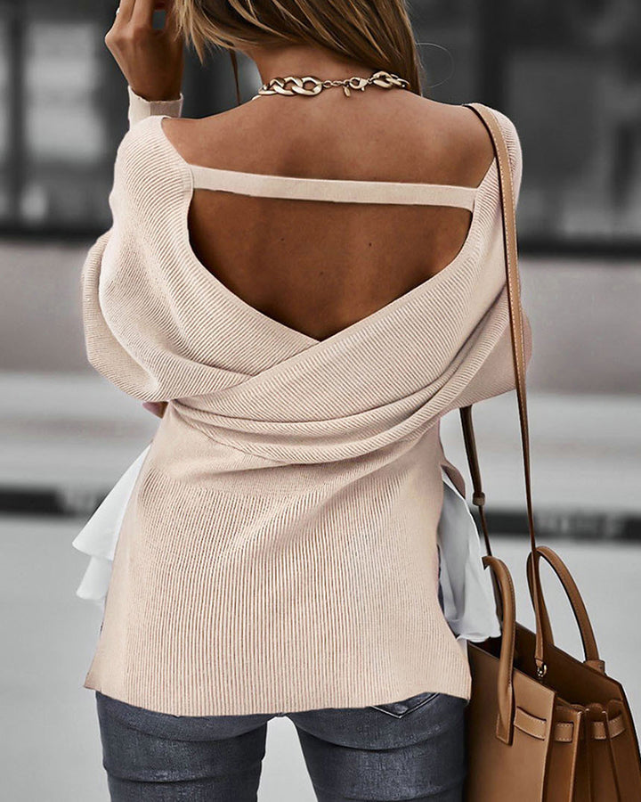Two Tone Tiered Layer Ribbed Split Hem Asymmetrical Sweater gallery 3