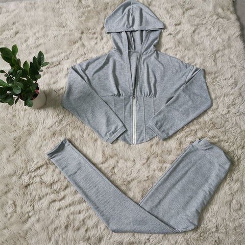 Corset Plunge Zippered Front Hooded Top & Pants Set gallery 9