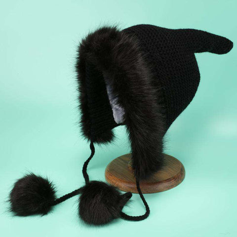 Women's Winter Cute Thick Conical Ear hat gallery 7