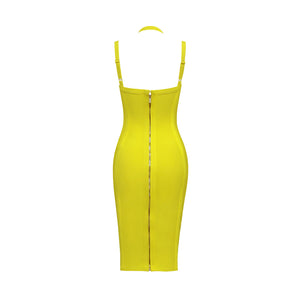 V-Neck Strappy Halterneck Bandage Dress