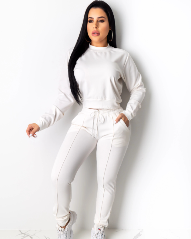 Long Sleeve Drawstring Waist Pocket Front Top & Pant Set