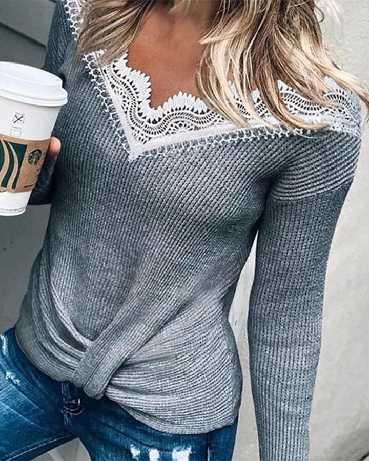 Rib Knit Contrast Lace Bodycon Sweater gallery 1