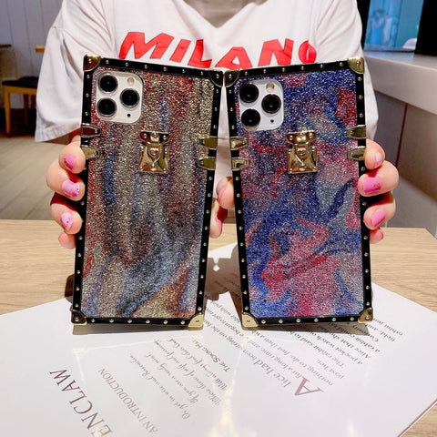 Multi Glittering Pattern Rivet Decorated iPhone Case with Hand Strap