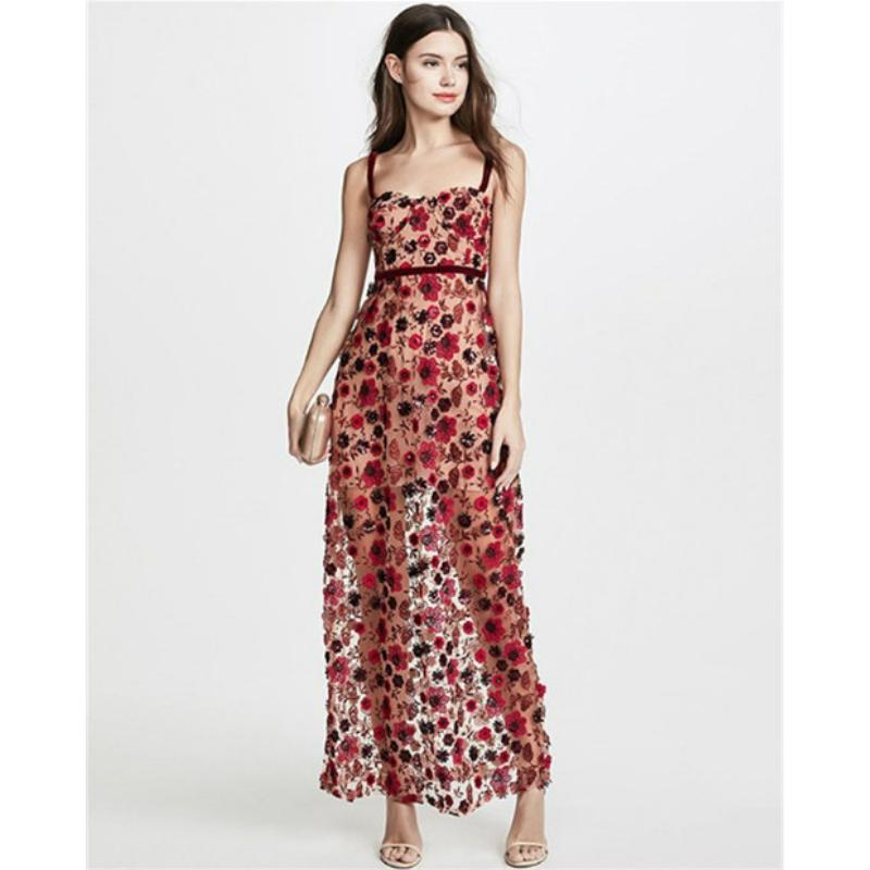 Floral Embroidery Strappy Slim Long Dress